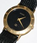 Rare Original Gucci 3001 M Black Face Men's Wrist Watch with Black Leather Band!