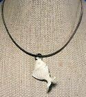 Vintage Carved Goldfish Koi Fish Pendant on Sterling Silver Snake Choker Chain