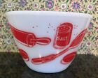 Vintage Fire King Red Kitchen Aids Utensils Mixing Bowl Excellent Condition 15