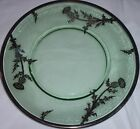 Antique Vintage Depression era Green Plate with Silver Overlay Thistle