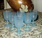 Set of 6 Vintage Blue Beverage Stemware Flower Pattern Glasses Indiana Glass ?