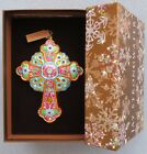 Jay Strongwater Turquoise Cross Glass Ornament w Swarovski Elements New in Box