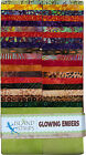Island Batik Glowing Embers Orange Brown Green Batiks Jelly Roll Strips Pack 40