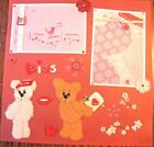 Handmade not printed Valentines Day Love Pre made Scrapbook pages Mats are sewn