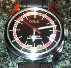 SWISS ORIS WATCH,17J, BLACK FACE RED CHAPTER RING BLACK LEATHER BAND