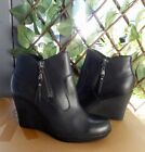 UGG Meredith Black Leather Wedge Heel Ankle Boots 6US fits 55US New