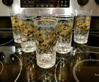 FRED PRESS LOT (6) Golden Eagles/Turquoise Mid-Century Etched Highball Glasses