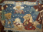 Boyds Bears Woven Tapestry Throw Afghan Peace On Earth Nativity Christmas 72x52