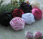 7pcs Big Satin Ribbon Rose Flowers Bows Wedding Craft Appliques JAF054