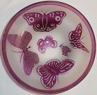 Rare 1993 Ltd Ed Steven Correia Art Glass Lilac Butterfly Bowl ESB8207 202 500