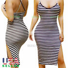 Women Bodycon Casual Bandage Evening Party Cocktail Long Tank Tops Blouse Dress