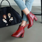 Womens Leather Ankle Boots Blokle Mid Heel Pull On Metal Decor Casual Shose New