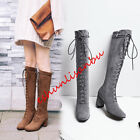 Stylish Womens Suede Lace Up Knee High Boots Blok Med Heel Motrocycle Biker Shoe