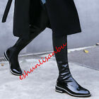 Stylish Over the knee High Long Boots Side Zip Motrocycle Biker Low Heel Shoes