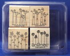 SIMPLE SOMETHINGS Flower 4pc Set Stampin Up Wood Rubber Stamp in Case