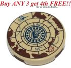 ☀️NEW LEGO Pirate 2x2 Round Decorated TILE Tan w/ Nautical Treasure Map Pattern