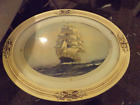 Antique porcelain oval frame with sailboat picture glass