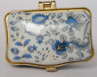 Mini Porcelain jewelry box painted blue flowers free shipping for USA America