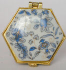 Mini Porcelain jewelry box painted blue flowers free shipping for USA 1.5