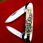 Original Double Sided Nautical Scrimshaw by Shar, Two Blade Canoe folding knife
