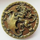 Awesome X LARGE Antique~ Vtg WOOD Back Metal Picture BUTTON w/ Lion (E25)