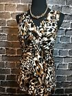 NWT CABLE  GAUGE Lds Sz L Exotic Animal Print Braided Front Sleeveless Top