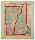 1857 VERMONT NEW JERSEY, MORSE GASTON ANTIQUE HAND-COLORED MAP
