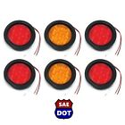 "4"" Round 4 Red & 2 Amber 10 LED Stop Turn Tail Light Flush Mount Truck Trailer"