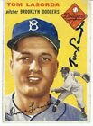 Tommy Lasorda Autographed Baseball Card 1954 Topps RC Rookie Auto Dodgers COA
