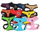Dog Puppy Soft Mesh Harness Paw Design 4 Sizes 10 Colors