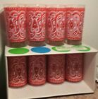 Mid Century Vintage Libbey Bandana Glasses Tumblers 12 Oz Set Of 8 Informals Red