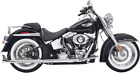 Bassani Xhaust Chrome 30 Fishtail Exhaust System for 07 17 Harley Softail FXST