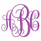 Intertwined Vine 3 Letter Machine Embroidery Monogram Fonts Designs CD or USB