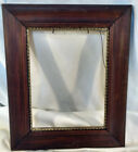 Antique Solid Wood Dark Oak Picture Frame Photo Painting Mirror VTG Carved Gold