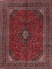 Antique Traditional Floral Handmade Red 10x13 Mashad Persian Oriental Area Rug