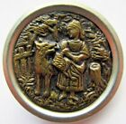 Wonderful X LARGE Antique Metal Picture BUTTON Little Red Riding HOOD Wolf (H36)