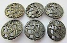 Beautiful Lot of 6 Antique Metal Openwork BUTTONS w/ Floral Design Set 1