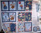 BLUE JEAN TEDDY COUNTING Cotton BOOK QUILT Fabric Panel DAISY KINGDOM U14