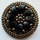 Exquisite LARGE Antique Victorian Pressed Black GLASS BUTTON Gold Luster (H18)