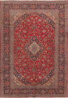 Vintage Red 8x11 Kashan Persian Area Rug Floral Hand Knotted Oriental Carpet