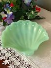 FIRE KING FAN SHELL JADEITE CANDY GREEN GLASS DISH - JADE ITE 7