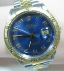 Rolex Datejust Turnograph 16263 S/S &18 kt Gold Band Blue Jubilee Arabic Dial