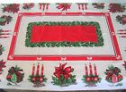 Vintage Christmas Tablecloth 50 x 64 Ornament Poinsettia Candle Holly Bows