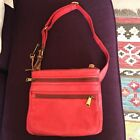 FOSSIL RED LEATHER EXPLORER CROSSBODY BAG WITH KEY CHARM VGC
