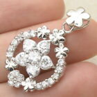 FLOWER FACETED CRYSTAL COLOR CZ 100 SOLID 925 STERLING SILVER PENDANT 1 1 8
