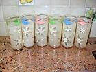 6 Vintage Tall Snowflake Iced Tea Zombie Glasses Tumblers Anchor Hocking