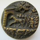 Very Nice X LARGE Antique Victorian Metal Picture BUTTON Horse Cut Steels (W17)