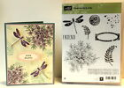 Stampin up Awesomely Artistic Wood set Dragon Fly Flowers Fern Label Burlap