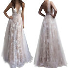 Women Hot Deep V-neck Lace Maxi Dress Long Bridesmaid Cocktail Gown Prom Dresses