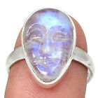 Balinese Goddess Carved Face-  Moonstone 925 Silver Ring Jeelry s.8.5 RR151558